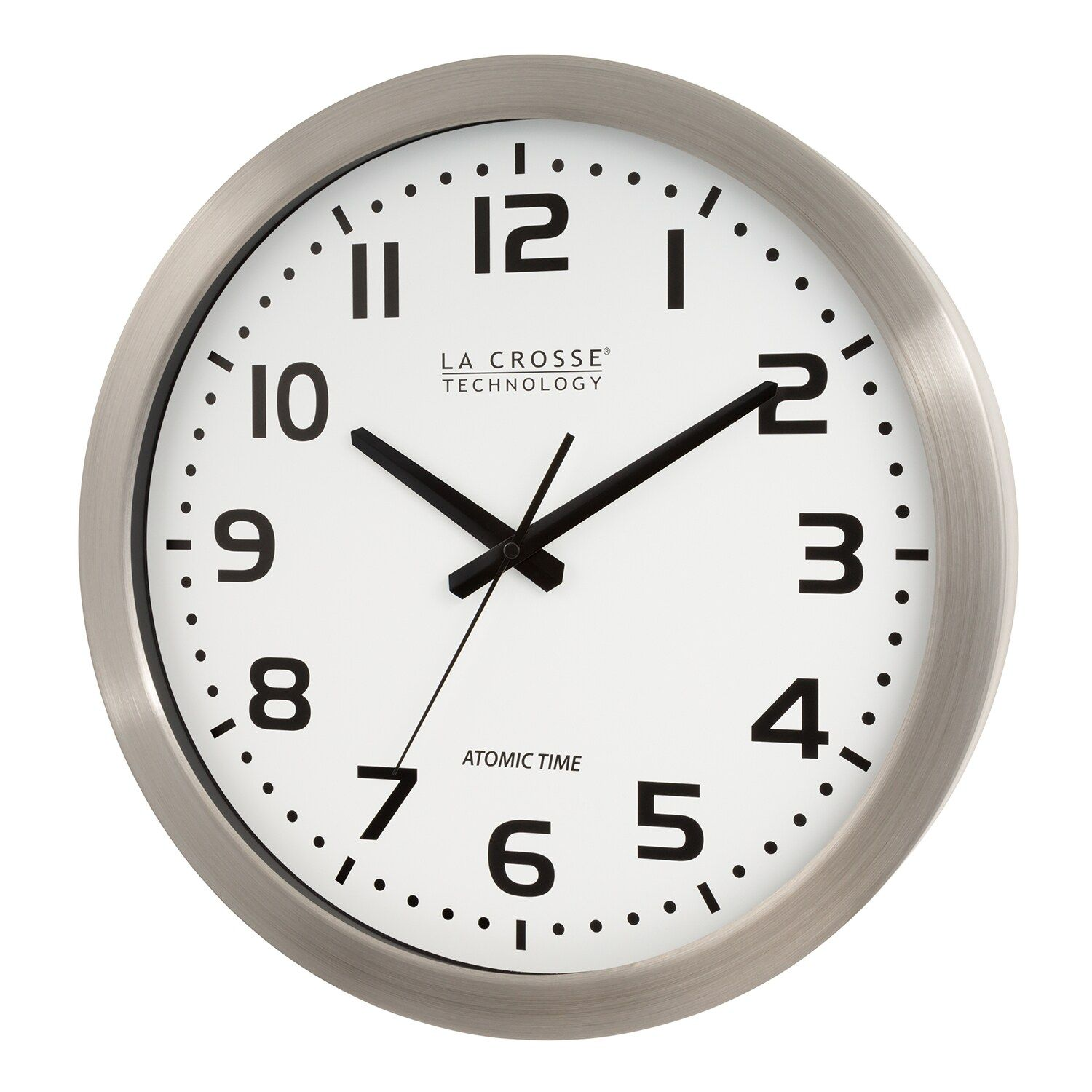 La Crosse Technology 16 Inch Stainless Steel Atomic Clock Affiliate Technology La Crosse Inch In 2020 Metal Wall Clock Atomic Wall Clock Wall Clock