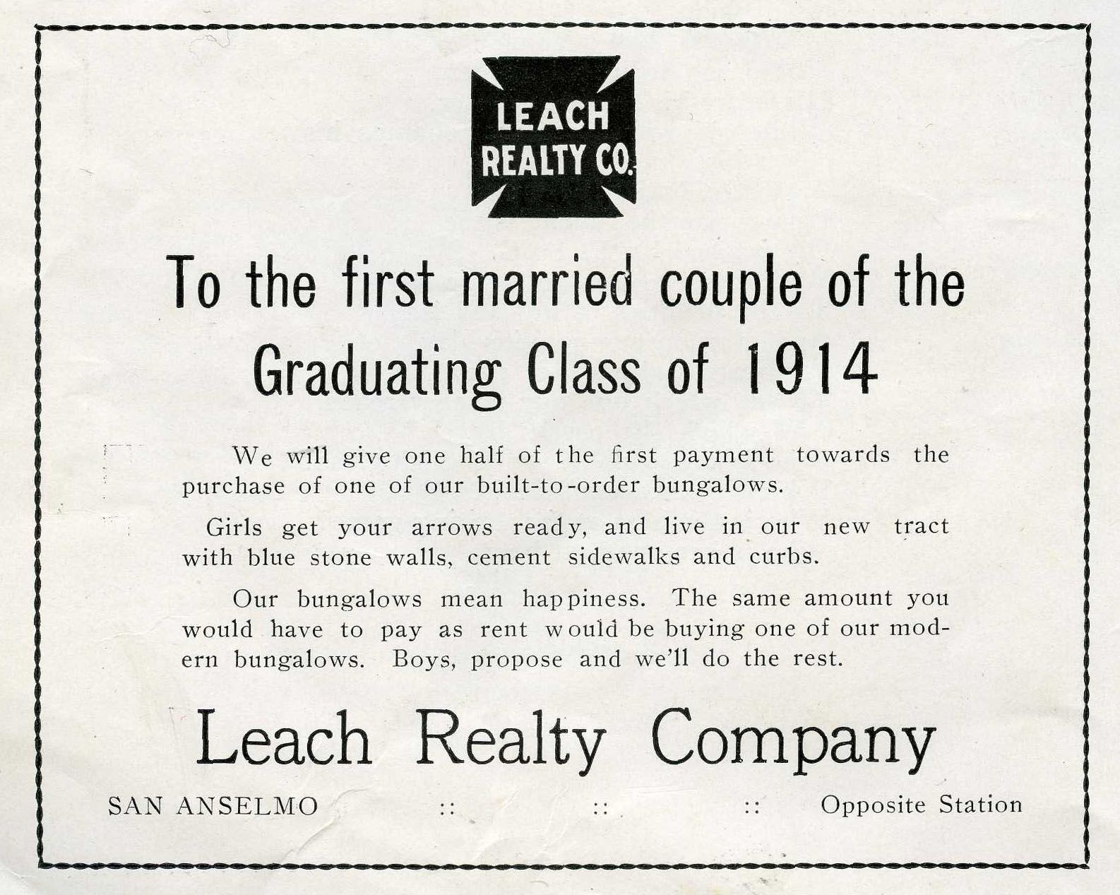 from the advertisements in the searchlight san rafael high school