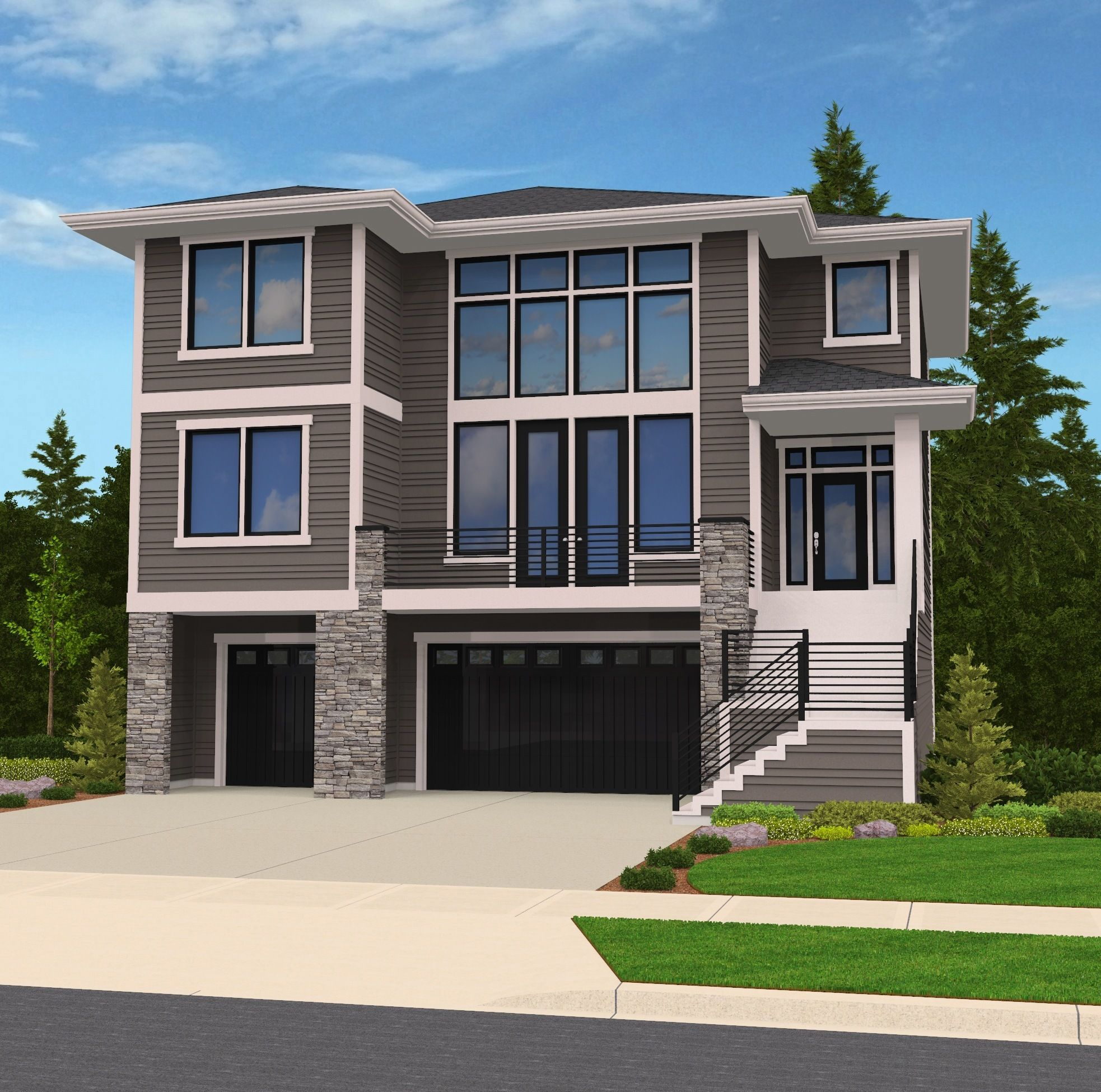 Hillside Modern Contemporary House Plan By Mark Stewart Modern House Plans Contemporary House Plans Modern Contemporary House Plans