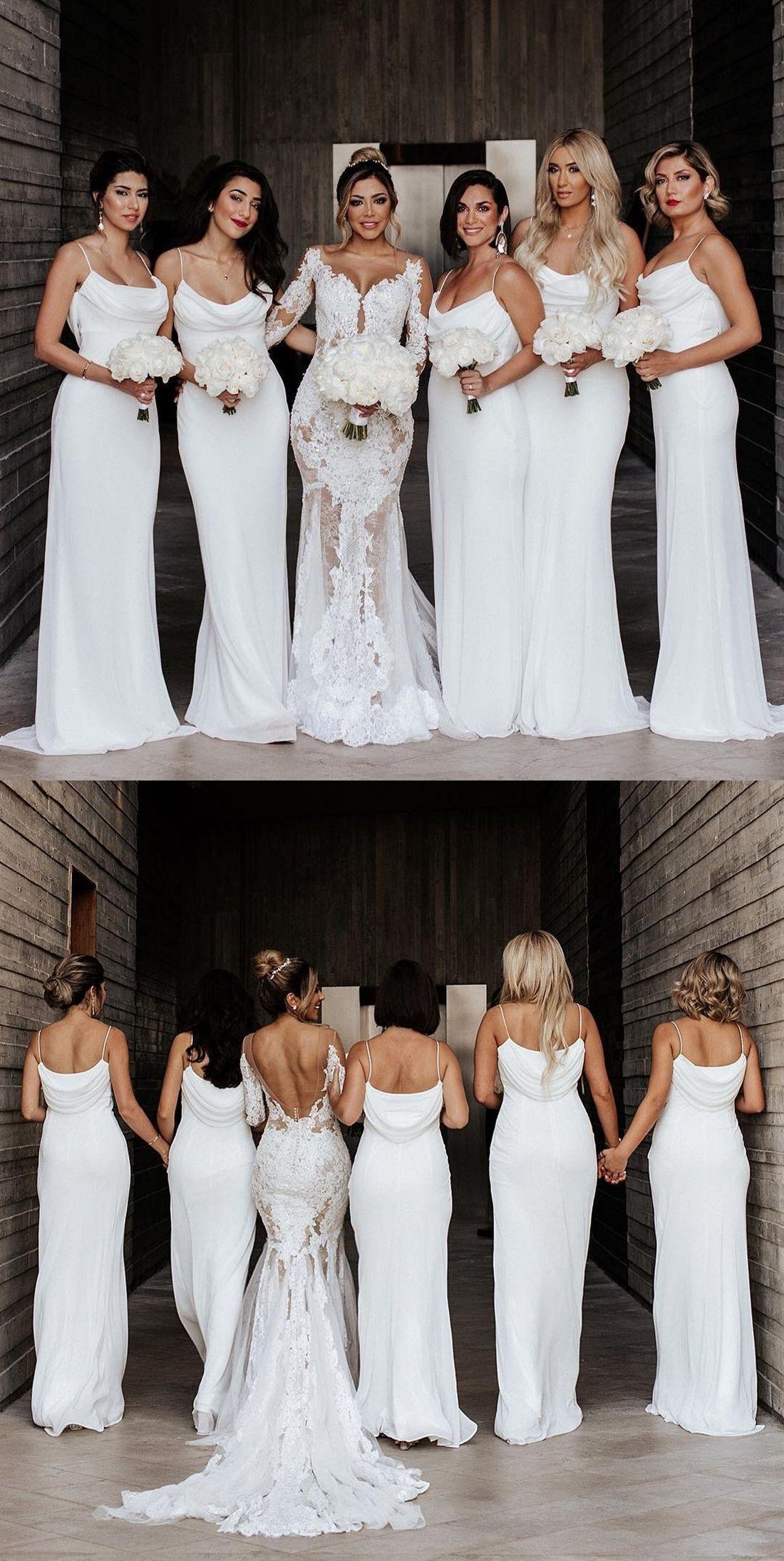 Cheap White Mermaid Bridesmaid Dresses Spaghetti Straps Long Wedding Party Dre Ivory Bridesmaid Dresses White Bridesmaid Dresses White Bridesmaid Dresses Long