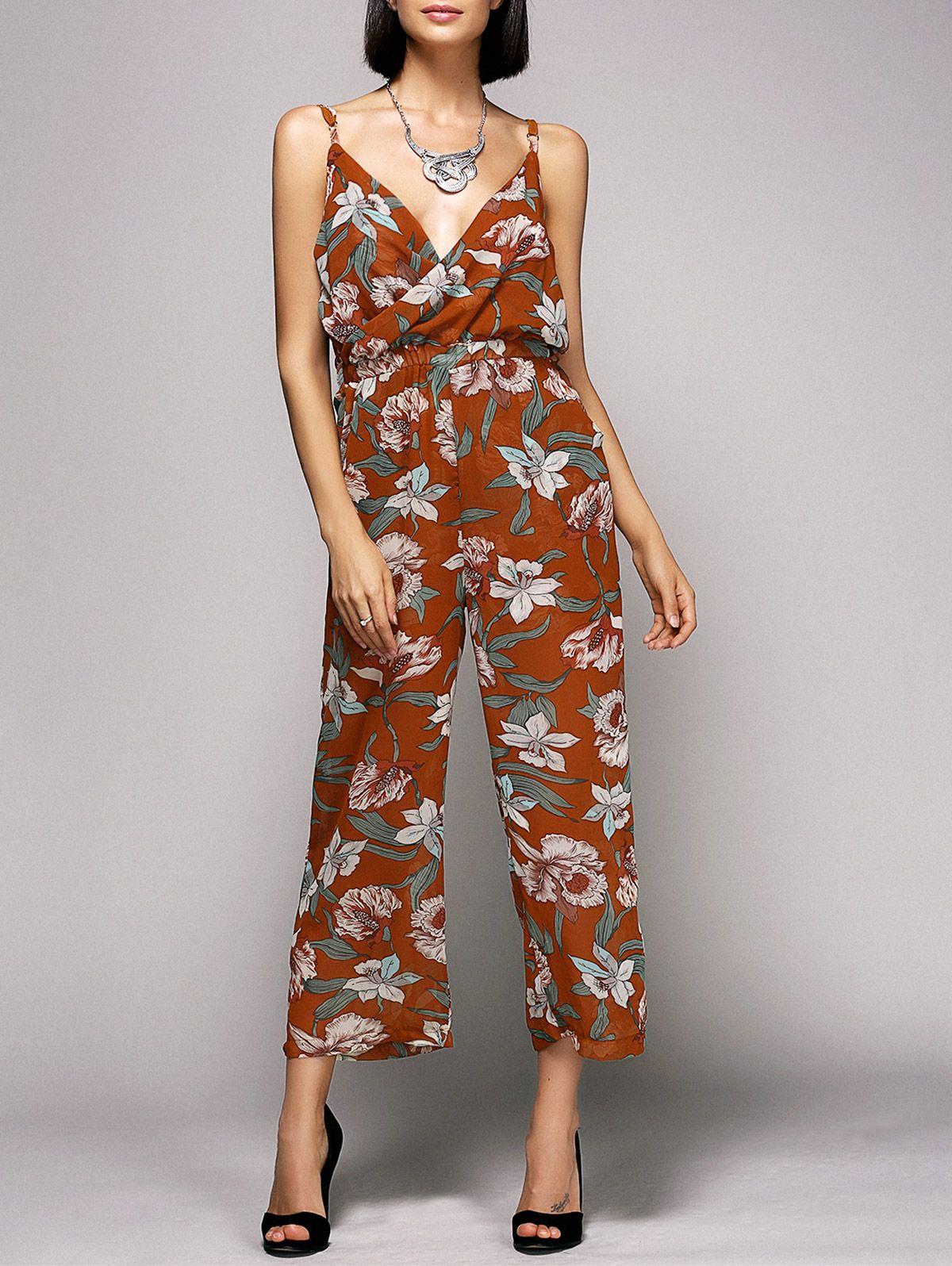 54511a5ffaa Retro Style Spaghetti Strap Floral Print Slimming Jumpsuit