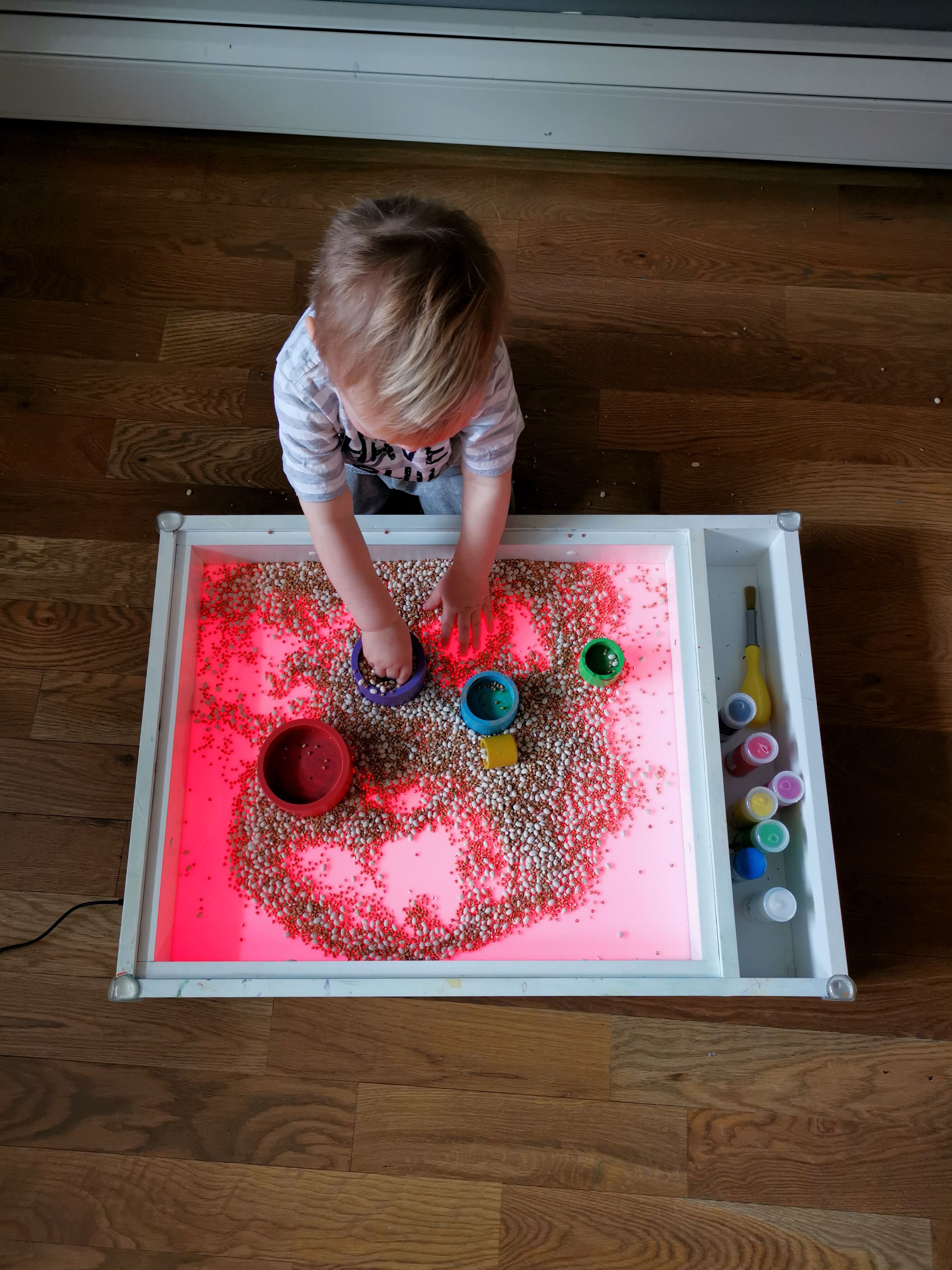 Your kid will enjoy playing with loose materials on our