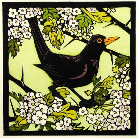 Image result for Japanese art blackbird and hawthorn blossom