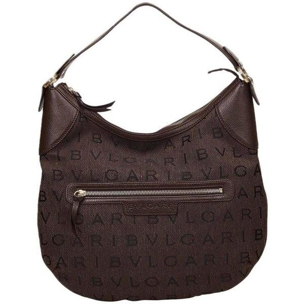Preowned Bvlgari Brown Logomania Single Strap Shoulder Bag 315 Cad Liked On Polyvore