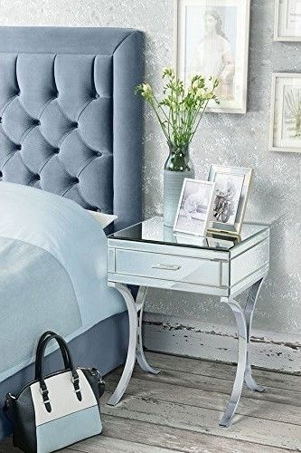Mirrored Bedside Table Chrome Night Stand Retro Bedroom Drawer