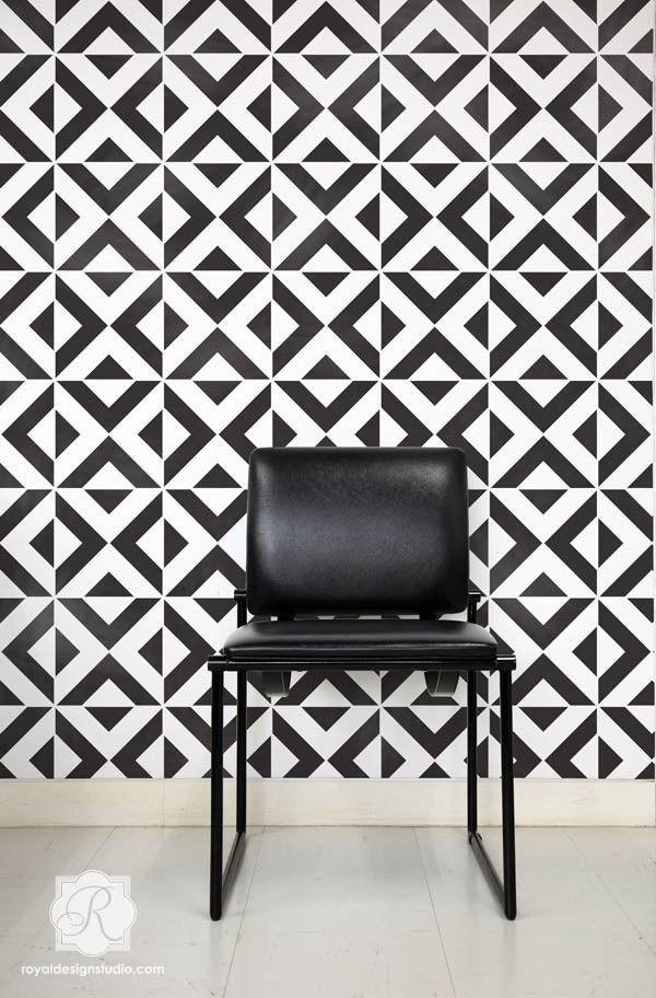 All The Angles Moroccan Wall Stencil Pattern Painting Wall - Bold painted accent walls