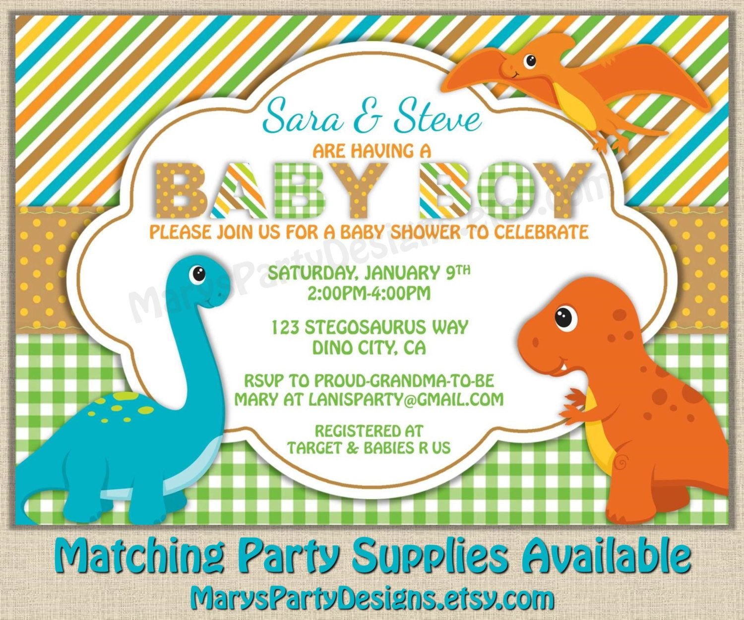 Dinosaur Baby Shower Invitation - Dino Boy Diaper Party Invites ...