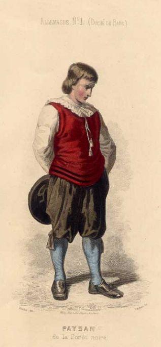 (Duché de Bade). Paysan de la Forêt noire. Altkolorierte original Federlithographie, um 1840.