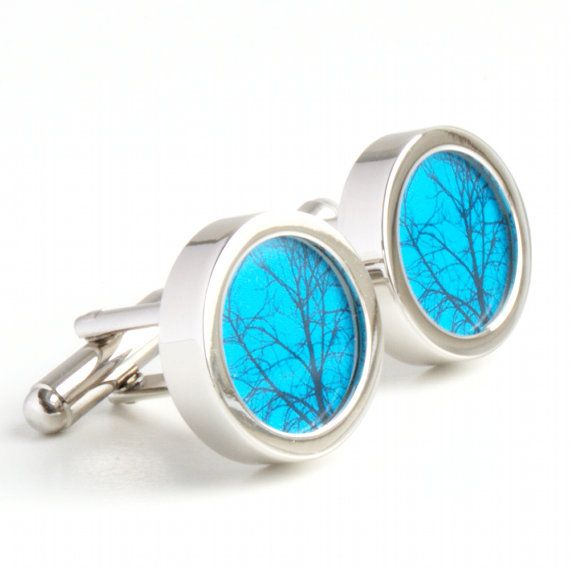 Abstract Tree Cufflinks on a Teal Background by urbaneye on Etsy, £19.99