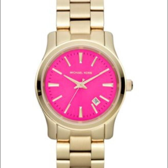 7f84fc30aeea MK Michael Kors Gold pink face runway watch Excellent condition. Will post  pics tomorrow. Works great