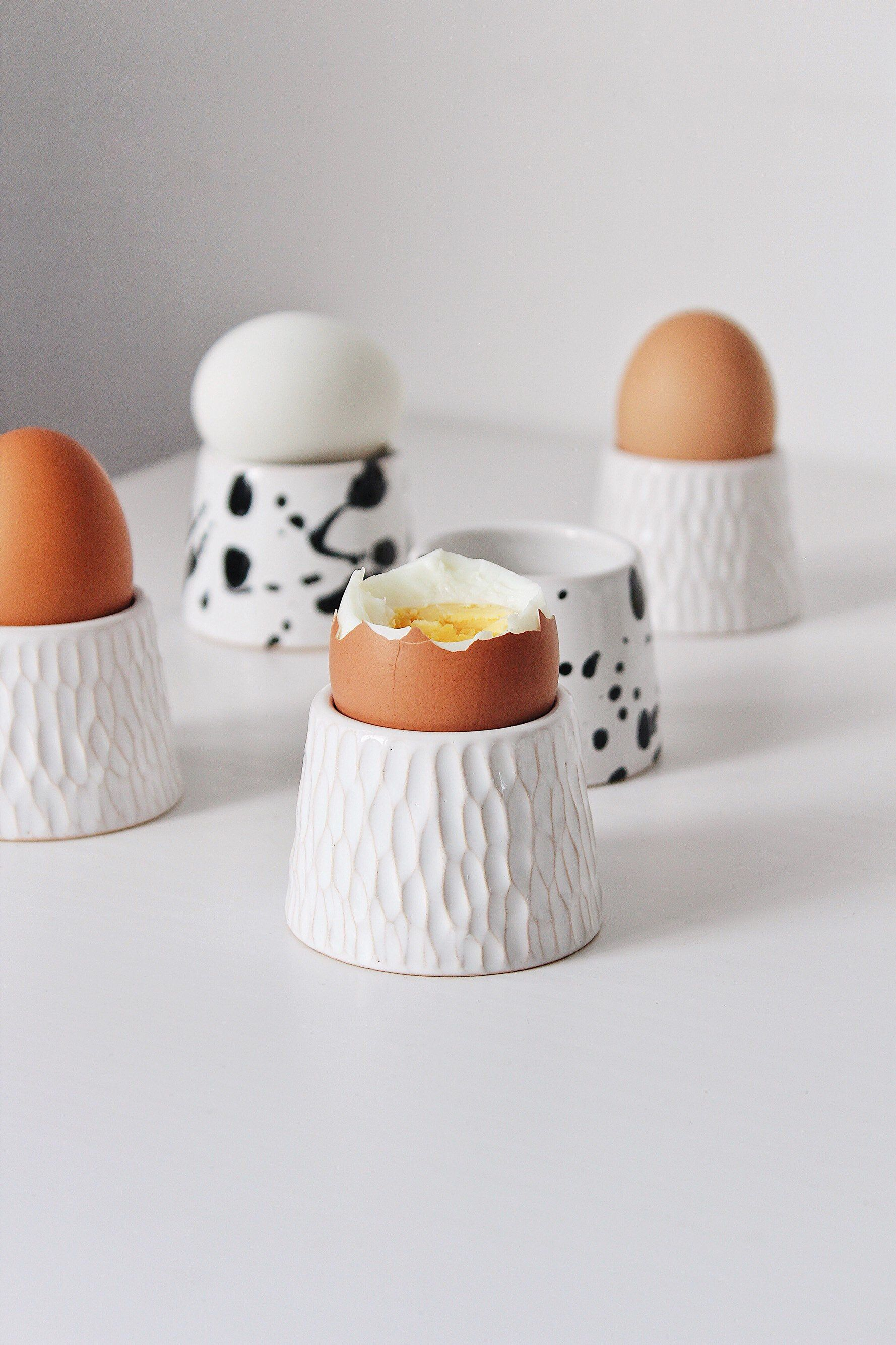 Ceramic egg cup, Pottery egg cups, Unique ceramic egg holder, Stoneware egg cup set, White pottery dish, Egg cup Modern stoneware dinnerware
