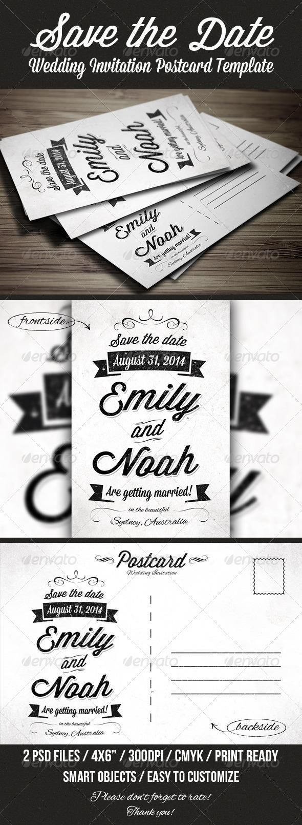 Save The Date Invitation Postcard  Postcard Template Card
