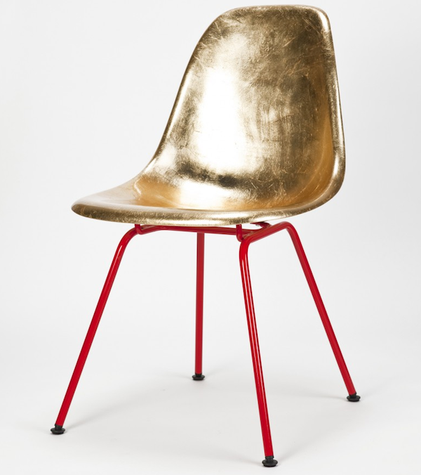 eames chair in gold