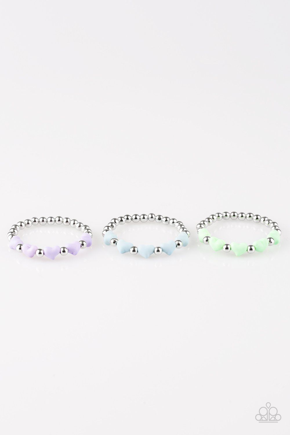 468190a2e Paparazzi Kids Starlet Shimmer Bracelet - Silver and Hearts Beads ...