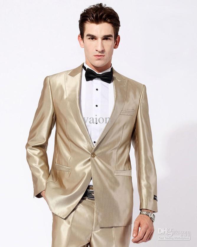 Cool Fashion NEW GOLD Unique design style Men Dress Wedding Banquet Slim Suits Groom Marriage Suit