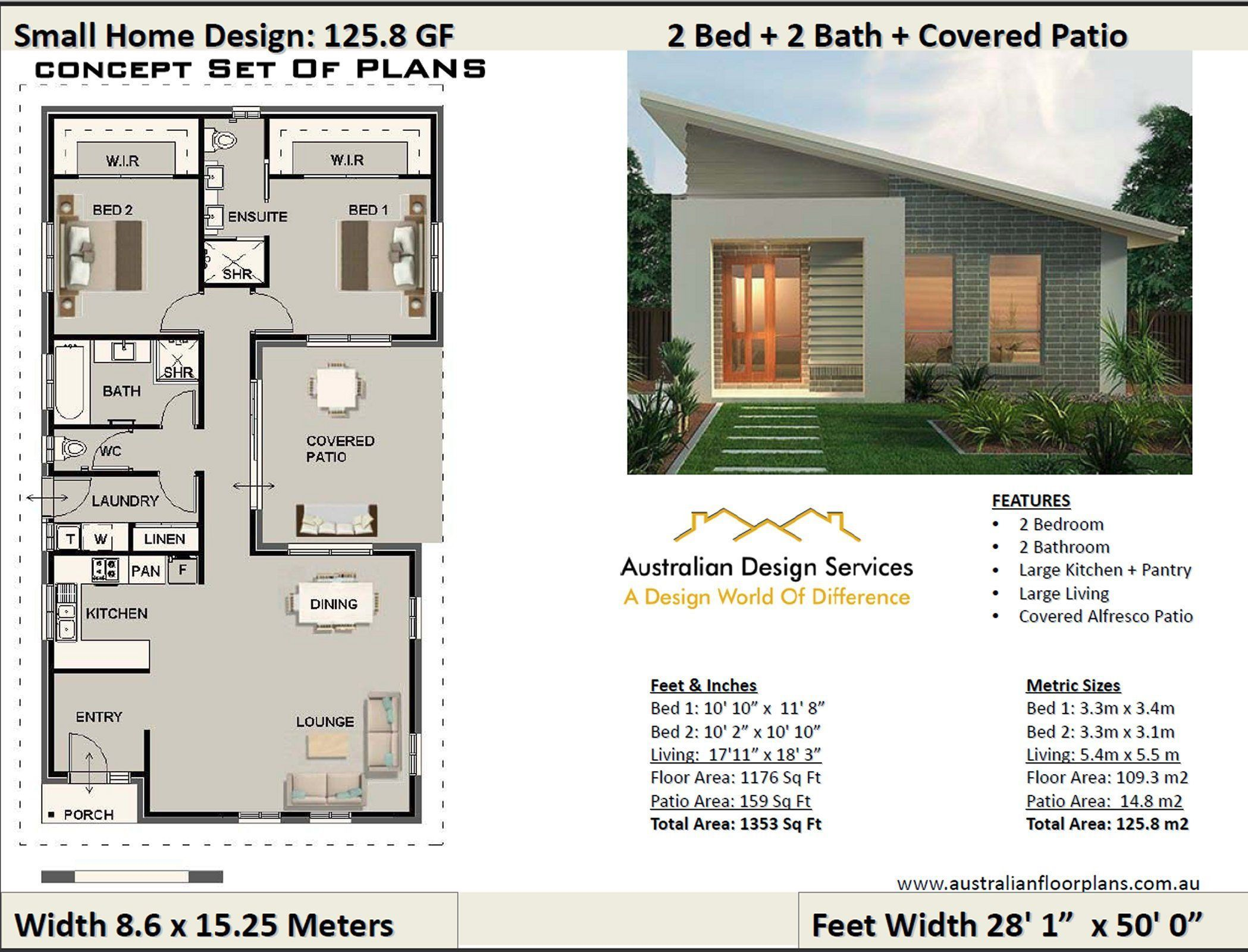 Small House Design Under 1200 Sq Foot House Plan Or 109 3 M2 2 Bedroom 2 Bedroom Design Foot In 2020 Small House Design House Plans Australia House Design