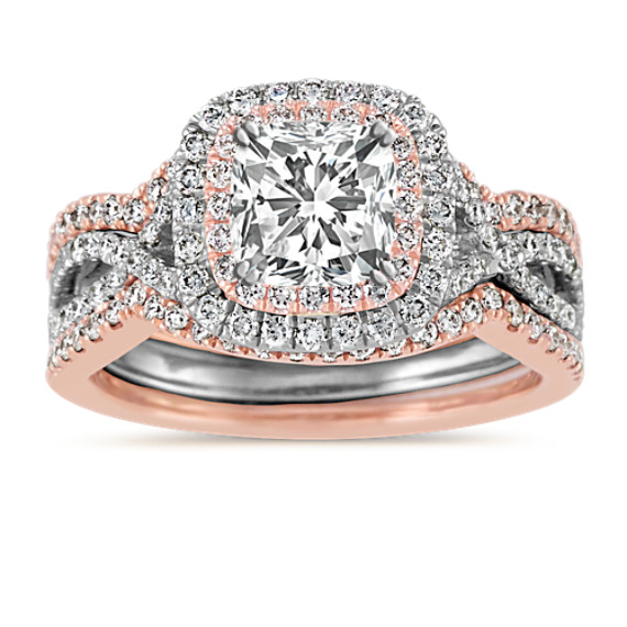 Double Halo Infinity Wedding Set In 14k White And Rose Gold From Shanecompany