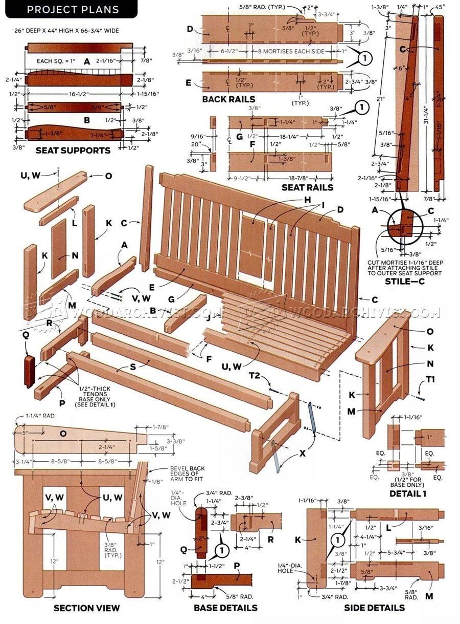 2333 Porch Glider Plans Outdoor Furniture Plans Diy