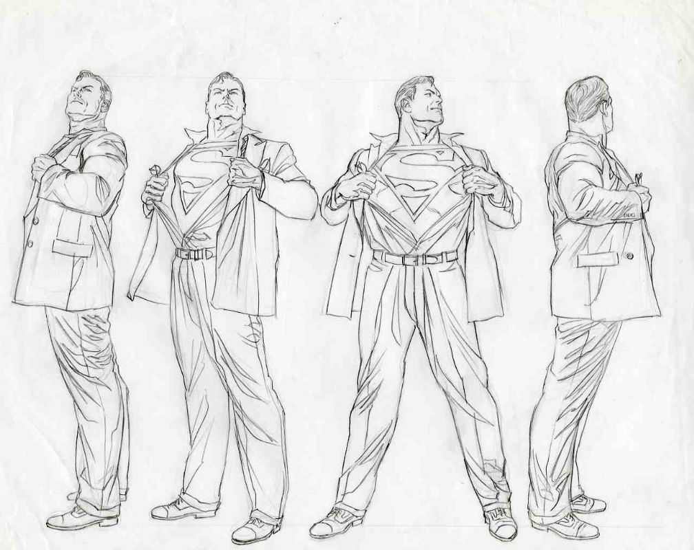 Character Design Reference Books : Alex ross superman turn arounds pinterest