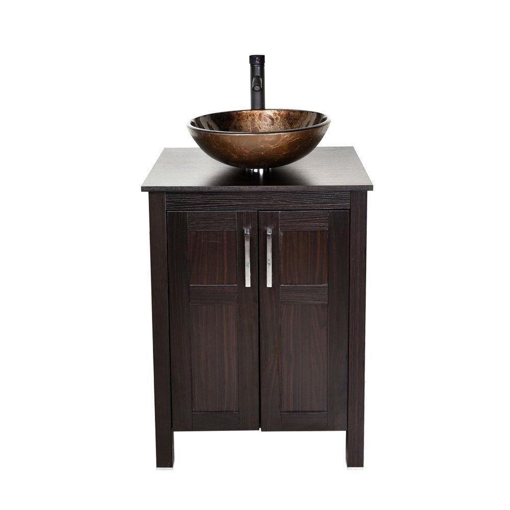 Complete Modern Bathroom Vanity Set With Dark Brown Cabinet Brown