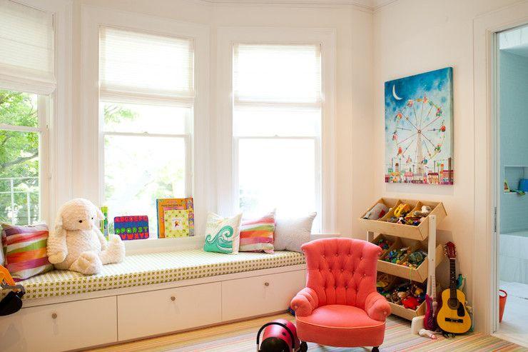 Kid S Playroom Features Built In Window Seat In Bay Window