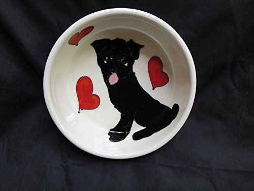 Pug 8 Dog Bowl for Food or Water Personalized at no Charge Signed by Artist Debby Carman >>> Want to know more, click on the image.