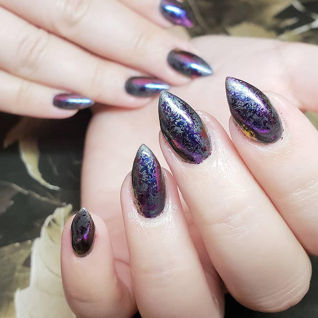 Abstract almond metallic nails hand painted nail art