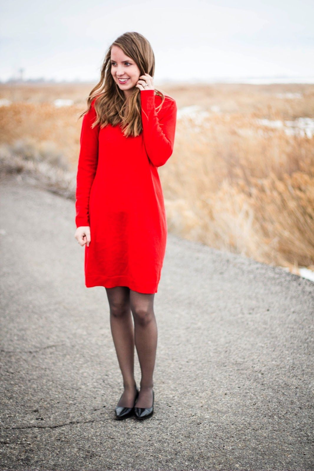 Red Sweater Dress Gray Tights Red Dresses Classy Red Fashion Red Sweater Dress [ 1600 x 1066 Pixel ]