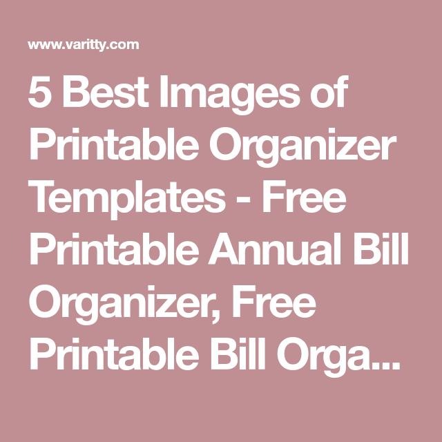 annual bill organizer
