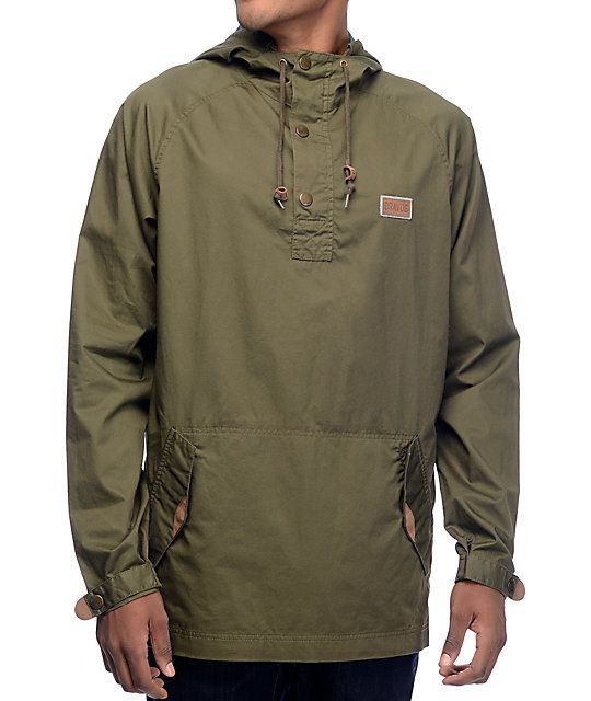 Dravus Timber Olive Pullover Anorak Jacket | Anorak jacket