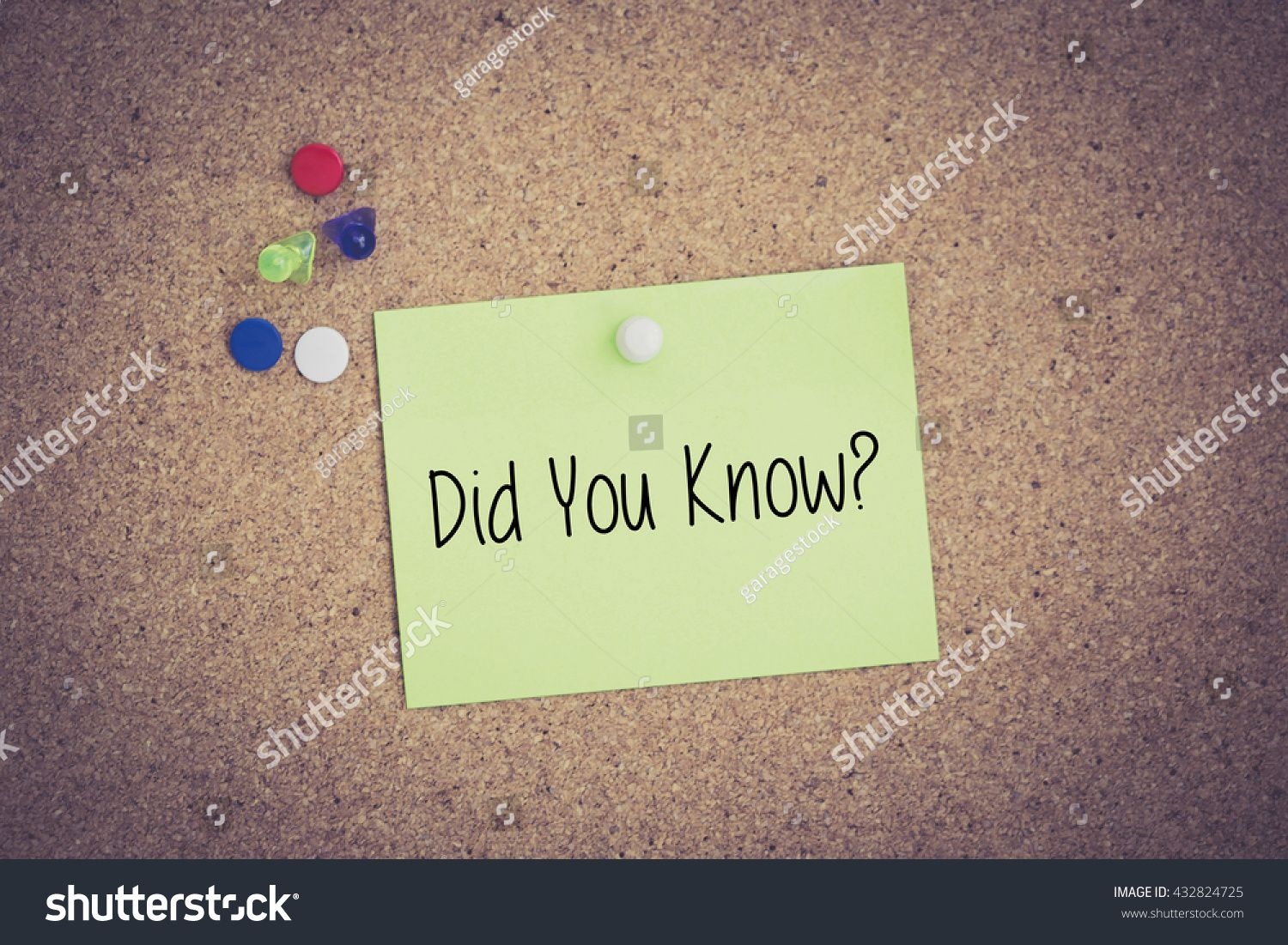 Did You Know Written On Sticky Note Pinned On Pinboard