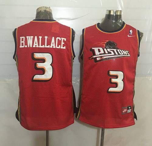 d85c57710 Men s Detroit Pistons  3 Ben Wallace Red Hardwood Classics Soul Swingman  Throwback Jersey