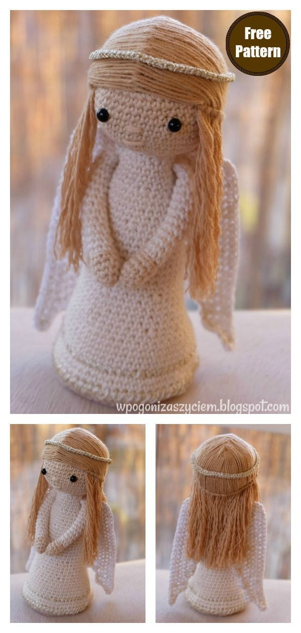 Amigurumi Christmas Angel Doll Crochet Pattern #crochetpatterns #christmasangels #crochetamigurumi #crochetdolls #christmasdecor #freecrochetpatterns