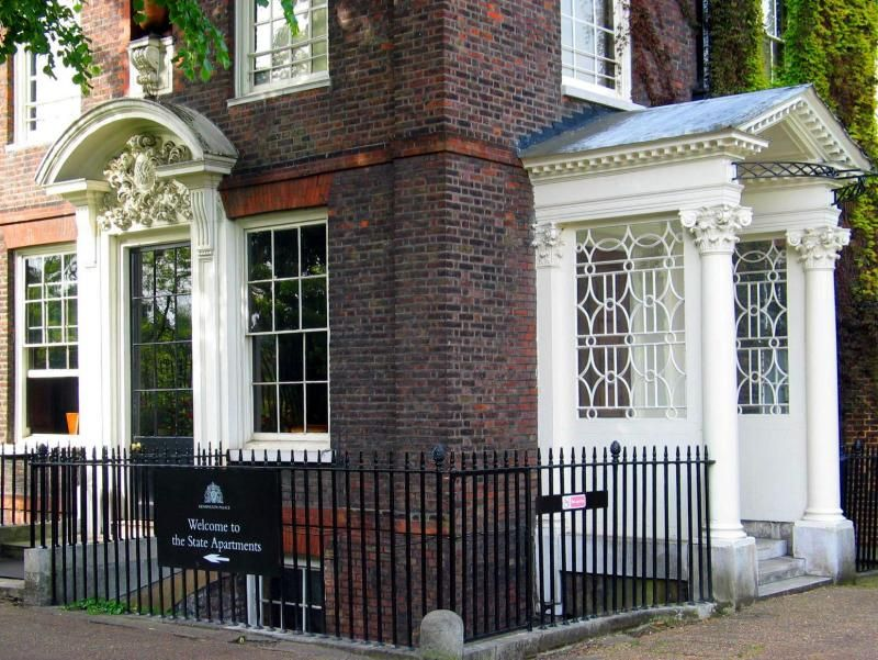 Kensington Palace the entrance the apartments. The wooden