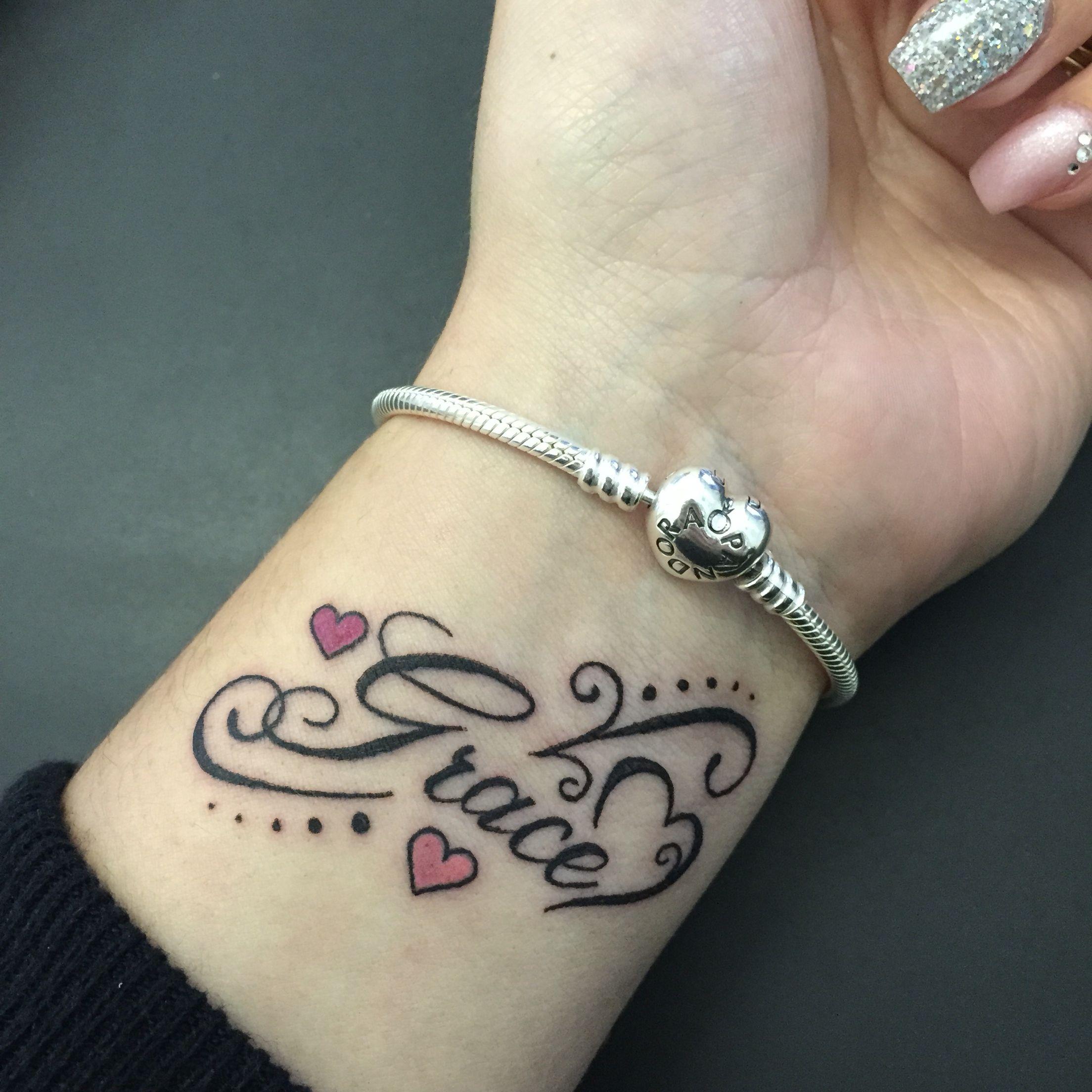 Grace Tattoo Wrist Daughter Tattoos Grace Tattoos