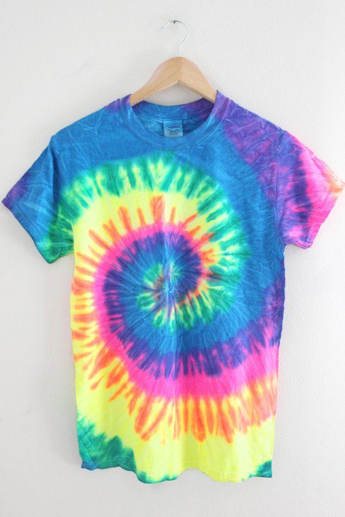 Neon Rainbow Tie Dye Unisex Tee Swirl Design Neon And