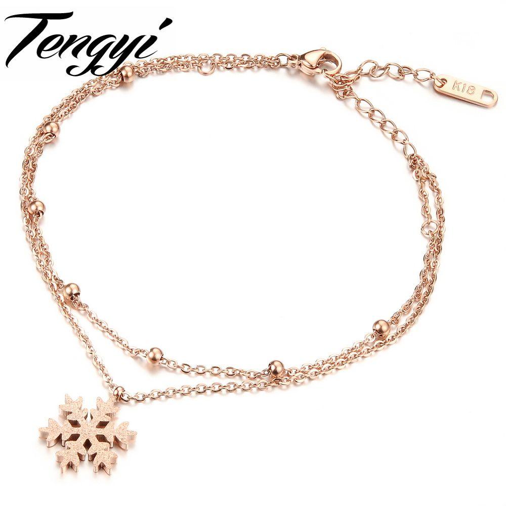 Tengyi casual snowflake bells design pendant anklet luxury rose gold
