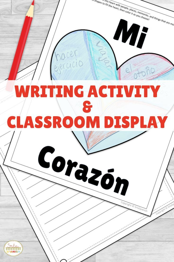 Quick and fun activity for your Spanish students during February! Click for the printable! Spanish writing, coloring, and craft activity you can use as classroom decor in your elementary, middle school or high school Spanish Class. Perfect for Valentine's Day, Dia de Amor y Amistad, and celebrating friendship with your students. #spanishclass #secondaryspanish
