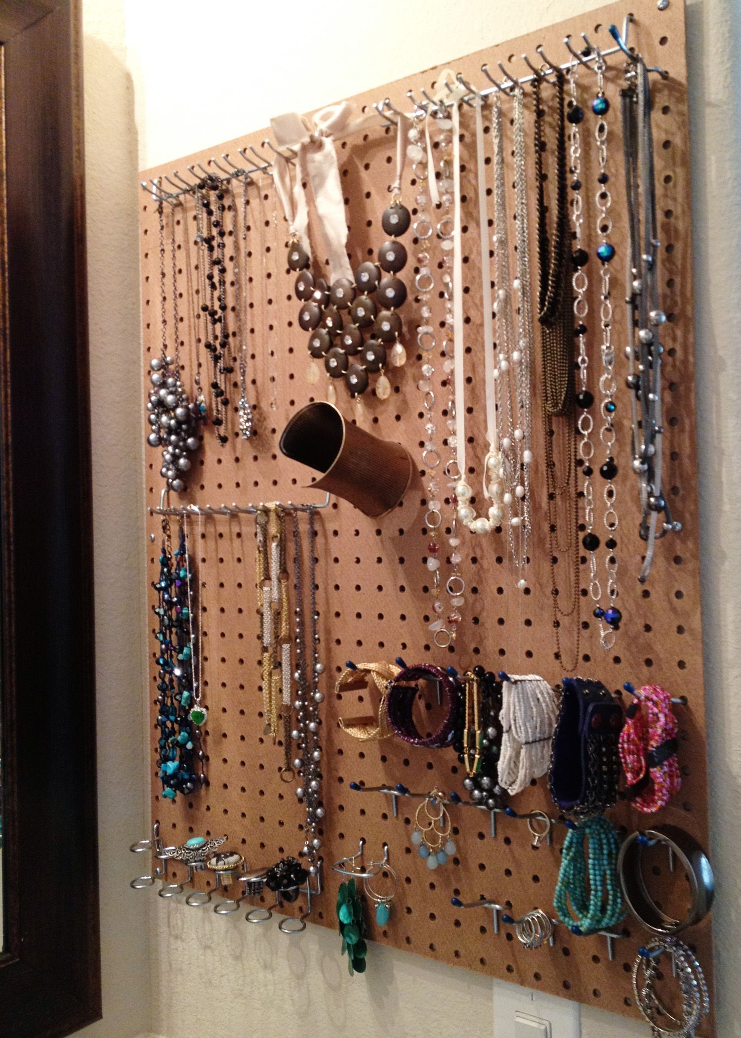 Pegboard jewelry organizer All of the supplies used to make this