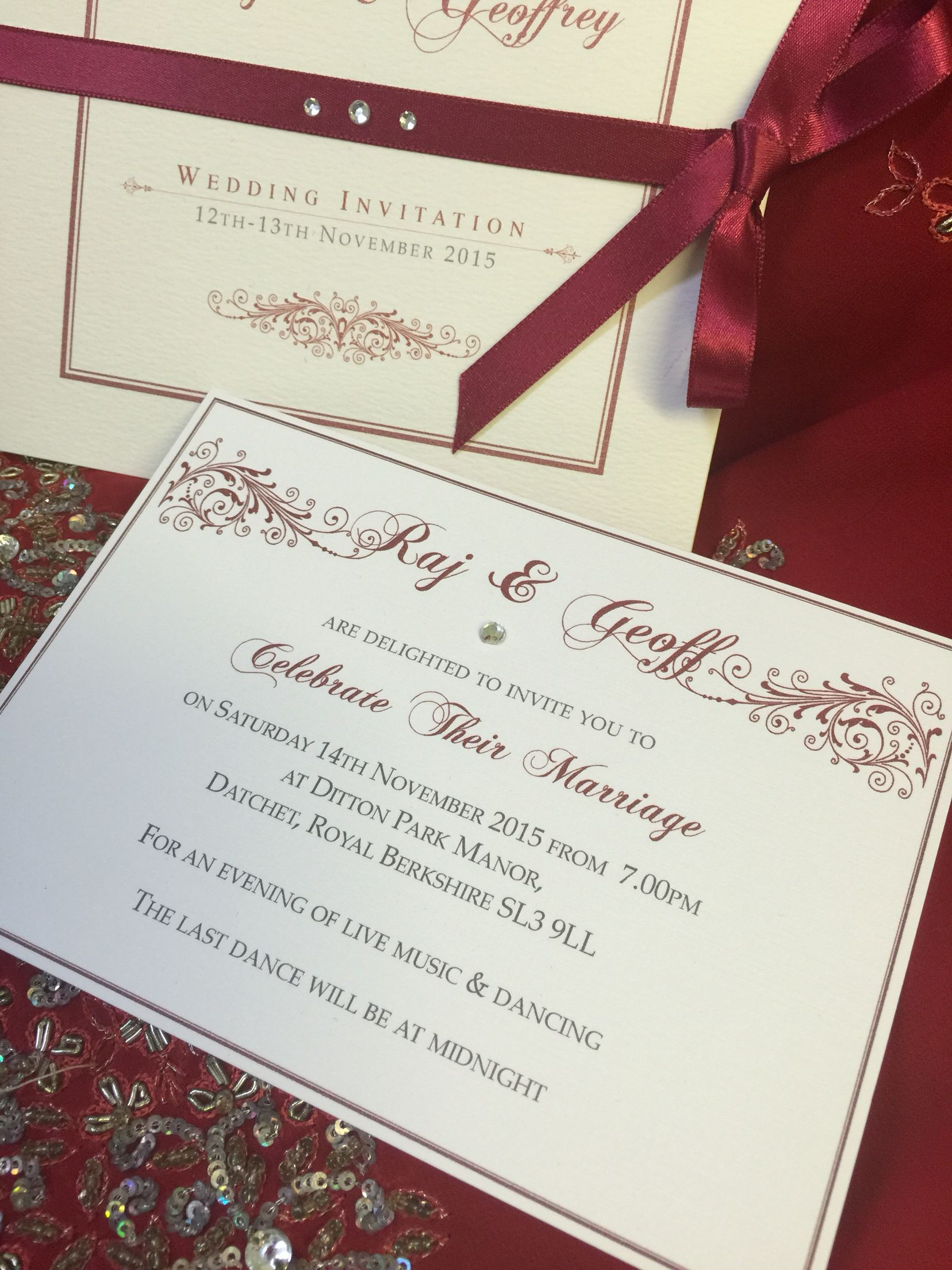Red hot Indian evening bespoke wedding invitation with trifold with ...