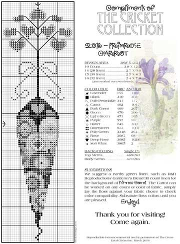 July The Cricket Collection Cross Stitch Pattern