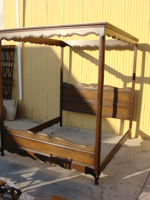 French Antique Canopy Bed California King Sized French Bed
