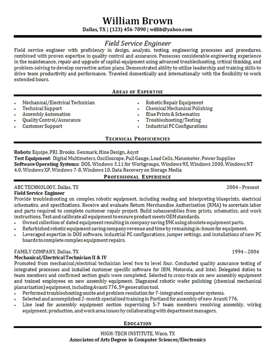 Field Service Engineer Resume Examples Functional Resume Good Resume Examples