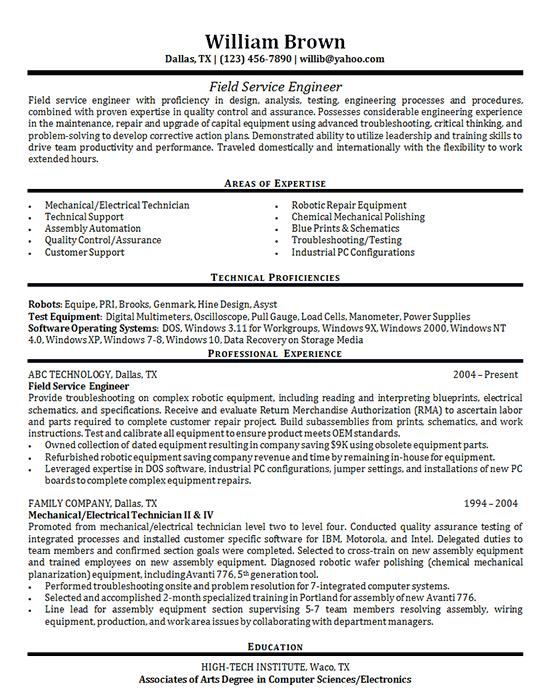Field Service Engineer Resume Examples Functional Resume Resume