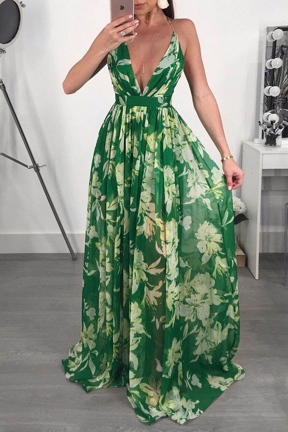 Green Floral Chiffon V Neck Long Summer Prom Dress Long Summer Dresses Maxi Dress Chiffon Dress Long [ 1800 x 1200 Pixel ]
