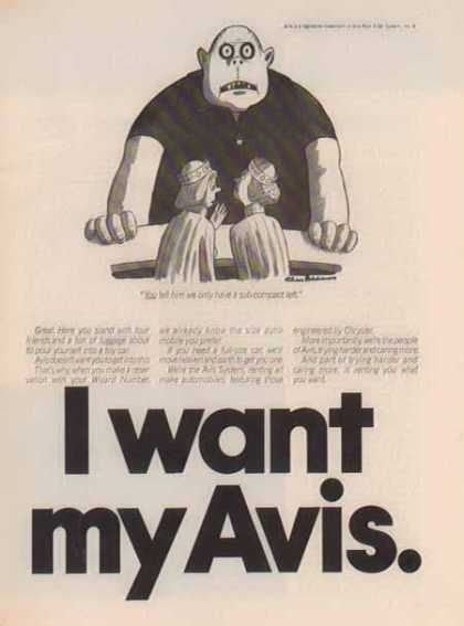 I Want My Avis Comic 1975 With Images Ads Transportation 1970s