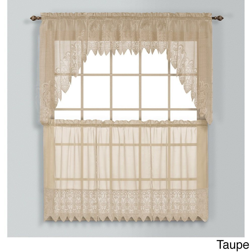Valerie Macrame And Sheer Voile Kitchen Tiers And Toppers 52 X 15