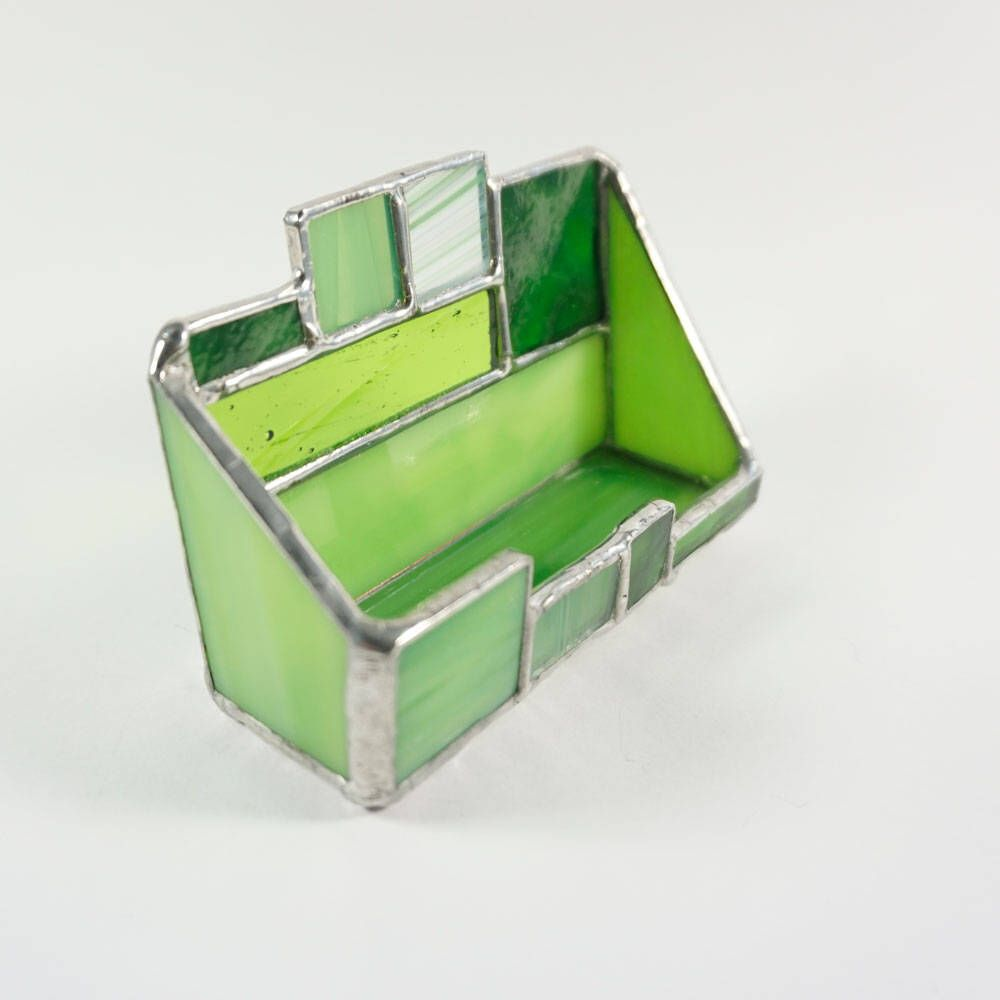 Stained Glass Business Card Holder, Desk Accessory, first job gift ...
