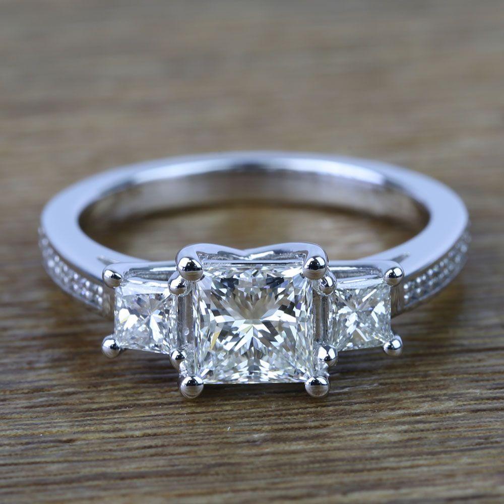 Three Stone Princess Trellis Diamond Engagement Ring (1.50