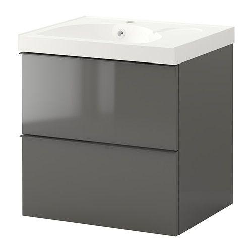 GODMORGON/EDEBOVIKEN Servantskap med 2 skuffer - høyglans grå - IKEA